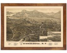 Ticonderoga, NY 1884 Bird's Eye View; 24x36 Print from a Vintage Lithograph