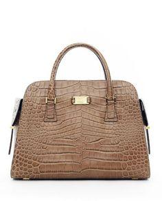 Michael Kors Handbags Sale Gia Embossed Satchel Taupe Crocodile-Embossed