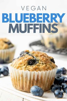 Start your day off right with these tender, fluffy, and healthy Vegan Blueberry Muffins! Stash them in the freezer for an easy grab-and-go breakfast. Best Breakfast Recipes, Homemade Breakfast, Vegan Breakfast, Breakfast Ideas, Vegan Blueberry Muffins, Blue Berry Muffins, Easy Bread Recipes, Dessert For Dinner, Gluten Free Desserts