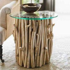 Tree Trunk Table http://how-to-recycle.blogspot.com/2014/04/recycled-furniture-collection.html
