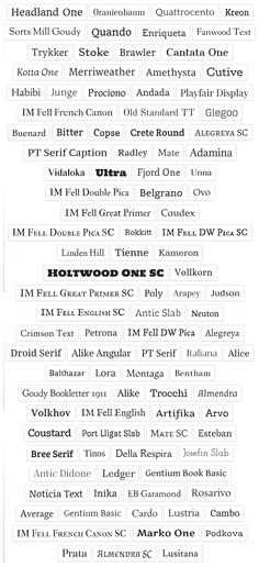 Quick Reference Posters for Google Web Fonts  Serif fonts are cleaner and readable. Common Serif typefaces include Times New Roman, Baskerville and Georgia