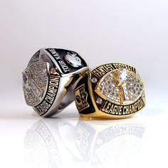 Fantasy Football Championship Ring trophy with personalized name on the side. Comes gold or silver plated.
