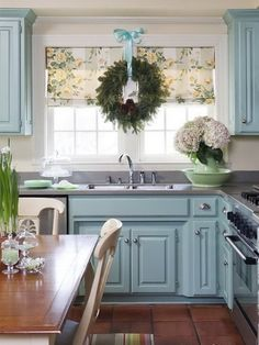 blue cabinets.. Love this kitchen!!!!!