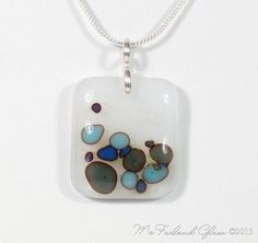 Contemporary Fused Glass Pebbles Pendant Necklace, Blue, Green, White, Reactive Glass Sterling Silver Chain