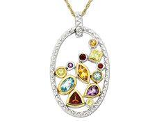 Garnet, Amethyst, Citrine, Peridot, and Swiss Blue Topaz Pendant in Sterling Silver and 10K Gold. $69.