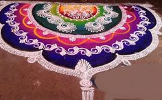Rangoli Designs and Patterns for Diwali Rangoli Indian Rangoli Designs, Rangoli Designs Latest, Simple Rangoli Designs Images, Rangoli Designs Flower, Colorful Rangoli Designs, Beautiful Rangoli Designs, Latest Rangoli, Rangoli Colours, Rangoli Patterns