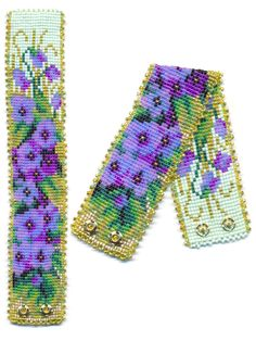 Violets Flower Garden Beaded Bracelet with Purples, Greens and Blues | Flickr - Photo Sharing!