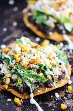 Black Bean and Roasted Chicken Tostada - Black Bean and Roasted Chicken Tostada recipe - Mexican Dishes, Mexican Food Recipes, Dinner Recipes, Healthy Recipes, Ethnic Recipes, Dinner Ideas, Mexican Meals, Cooking Recipes, What's Cooking