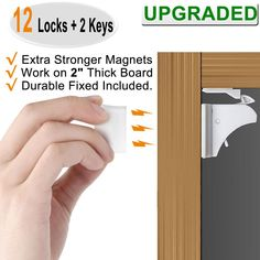 Adjustable PE Strap and Latches with 3M Adhesive 6 Sets of White Red Planet Child Proof Cabinet Locks