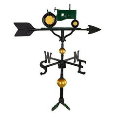 Montague Metal Products Deluxe Tractor Weathervane Finish: Green