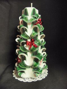 7.5 Inch Hand Carved Candle Green & White by TwoLadiesAndBunny, $28.00