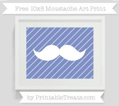 Pastel Dark Blue Diagonal Striped  10x8 Moustache Art Print