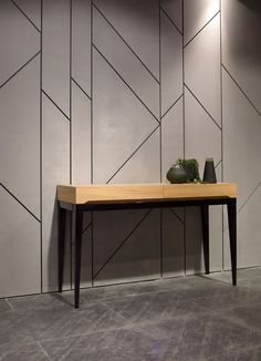 Cladding idea, could be used to hide utility door. Or could be used on the 'box' element in your master suite which has your ensuite in. Feature Wall Design, Wall Panel Design, Wall Decor Design, Ceiling Design, Wall Texture Design, Wall Cladding Interior, Wall Cladding Designs, Interior Walls, Office Walls