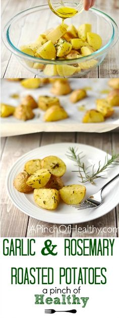 These garlic and rosemary roasted potatoes are a simple side dish that is sure to please even the picky eaters. | APinchOfHealthy.com