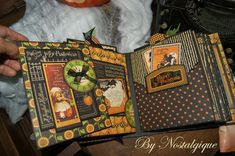 Here my new Halloween Album. This Collection of Graphic 45 is amazing. Thank you Graphic page. Halloween Mini Albums, Halloween Shadow Box, Halloween Scrapbook, Halloween Tags, Halloween Themes, Mini Scrapbook Albums, Scrapbook Pages, Scrapbooking, Graphic 45