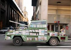 Raul lemesoff turns a ford falcon into a tank-shaped traveling library. A traveling library that tours argentina in the shape of a tank. Ford Falcon, Mobile Library, Little Library, Hope For The Future, Old Fords, Creative People, So Little Time, Free Books, Weapons