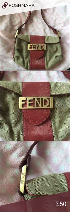 """Vintage fendi bag Perfect clutch size purse. 7"""" Red and gold Vintage Not sure of the authenticity because it was my grandmothers but she always had designer things. So who knows! Fendi Bags Mini Bags"""