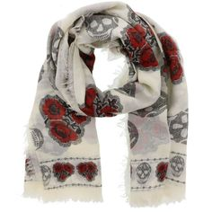 Alexander Mcqueen Poppy Skull Scarf (345 CAD) ❤ liked on Polyvore featuring accessories, scarves, ivory red, ivory shawl, skull scarves, alexander mcqueen, alexander mcqueen scarves and red shawl