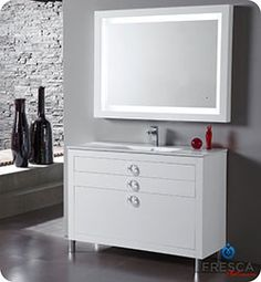 "48"" Fresca Platinum Due Glossy White Modern Bathroom Vanity #BathroomRemodel #BlondyBathHome #BathroomVanity  #ModernVanity"
