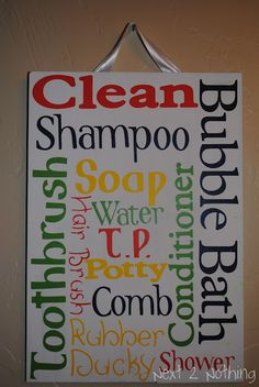 For david and cadences bathroom at new house....adorable bathroom sign, must make