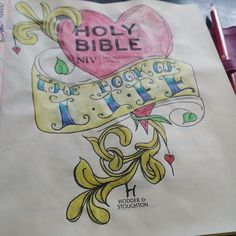 My first art on my new journaling bible Holy Bible Niv, Bible Love, Bible Study Journal, Book Journal, Art Journaling, Scripture Art, Bible Art, Old And New Testament, Jesus Art