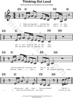 Print and download Thinking Out Loud sheet music by Ed Sheeran. Sheet music arranged for Piano/Vocal/Chords in C Major.
