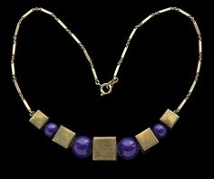 JAKOB BENGEL Attrib - Art Deco Necklace - Brass Galalith - German, c.1930
