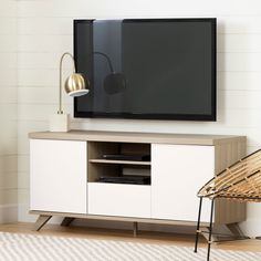60 Inch Soft Elm and Pure White TV Stand - Cinati | RC Willey Furniture Store