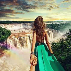 "Photo: by Murad Osmann. ""Follow Me,"" Iguazu Waterfalls, Brazil. Check out this incredible travel art photo series in THE ART OF A BEAUTIFUL PAIR NOW, today's Arts Design #BNDailyFix. http://www.beautifulnow.is/bnow/the-art-of-a-beautiful-pair-now #BeautifulNow! #FollowMe #photography #travel #love #discovery #Brazil #Jordan #NYC"
