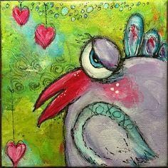 Love Struck dirty flirty bird with Jodi Ohl online class. Acrylic by Betsy Walcheski