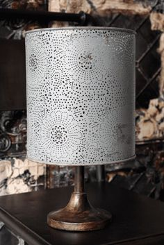 Metal Lace Lampshade - suitable for lamp or pendant - Medium - Antique Grey