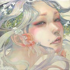 """The Beauties of Nature"" - Miho Hirano 平野実穂, watercolor, 2015 {fantasy art beautiful female head underwater woman face portrait painting} mihohirano.strikingly.com"