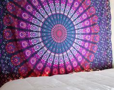 Teal Tapestry Turquoise Mandala Tapestry by TheBohemianShop