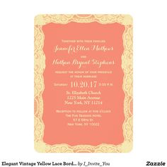 Elegant Vintage Yellow Lace Border & Coral Pink 5x7 Paper Invitation Card