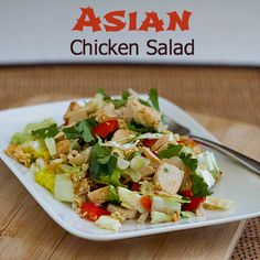 Asian Chicken Salad has a tasty dressing with ginger and Sriracha