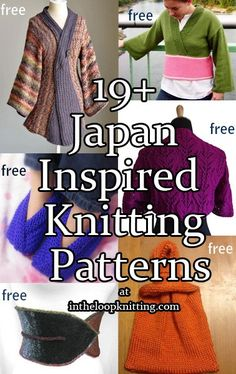 Knitting patterns inspired by Japanese style including kimonos, sashes, knot bags. Most patterns are free.