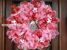 red and pink wreaths | SALE Red and Pink Plaid Valentine Deco Mesh Wreath by Gatorgirl50
