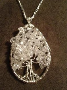 Crystal Ice Tree of Life Hand Wire Wrapped Pendant