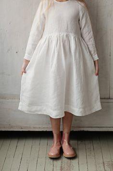 Smock Dress for Girls, Long sleeves, White Magnolia