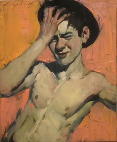 Malcolm Liepke : Boy with Hat, oil on canvas, 10 x 12 Painting People, Figure Painting, Painting & Drawing, Painting Inspiration, Art Inspo, L'art Du Portrait, Pencil Portrait, Malcolm Liepke, Gay Art