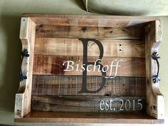 Items similar to Rustic reclaimed handcrafted solid wood monogramed oversized serving tray on Etsy