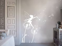 Subtly stylish, our Dandelion Fairy wall stickers are the perfect no-mess, no-fuss way to create your own designer nursery. Made of high quality matt-finish vinyl, they will complement your Bambizi bedding to create a true custom look. Fairy Bedroom, Fantasy Bedroom, Girls Bedroom, Girls Wall Stickers, Nursery Wall Stickers, Wall Decals, Childrens Wall Stickers, Vinyl Decals, Wall Art