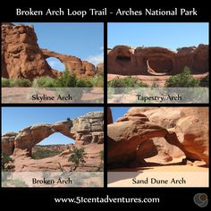 51 Cent Adventures: Arches National Park - Broken Arch Loop Trail.  Easy Trail leads to two arches.
