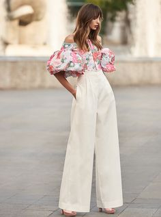 4d854bfa595 Costarellos Spring Summer 2018 Collection  br Top Trousers White br    Off-the-Shoulder Top with Puffed Sleeves