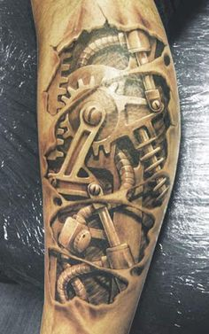 Biomechanical 3D Tattoo by David Klvac