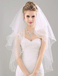 Wedding+Veil+Two-tier+Fingertip+Veils+Pencil+Edge+Organza+–+USD+$+23.98