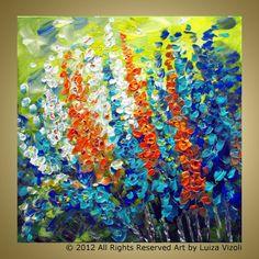 SPRING FLORAL Original Modern Impressionist Flowers by LUIZAVIZOLI, $189.00