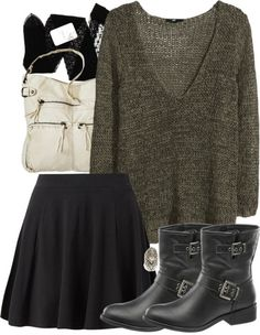 H M knit top, $11 / Gerbe stocking / Mini skirt, $16 / Mossimo shoulder strap bag / Free People ring / Boots, $38