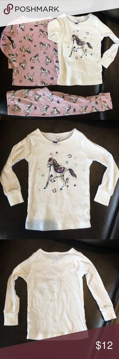 Attention Horse lovers!! 2T set of pj's!   if your toddler loves horses as much as my daughter then she'll love these pj's  one of my daughter's favorite!!! They are 2T and have been worn but in good condition. Looks like a little bit of bleach got on the sleeve & back part of the pink top (pictured) but it's not like our kids care  all of our clothes are washed in cold water & hung dry or on low to prevent shrinking! Also no pets & non smoking household! Carter's Pajamas Pajama Sets