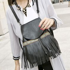 bolso flecos 2017 new fringe bag women Backpack PU leather small shoulder bag female soft black bag mochila feminina